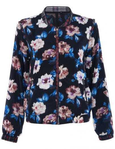 Black Contrast Plaid Trims Floral Print Jacket