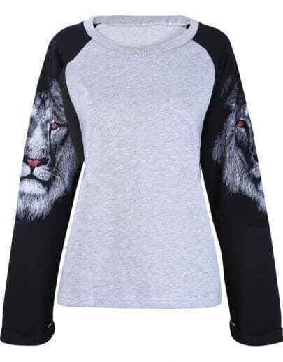 Grey Contrast Long Sleeve Lion Print T-Shirt