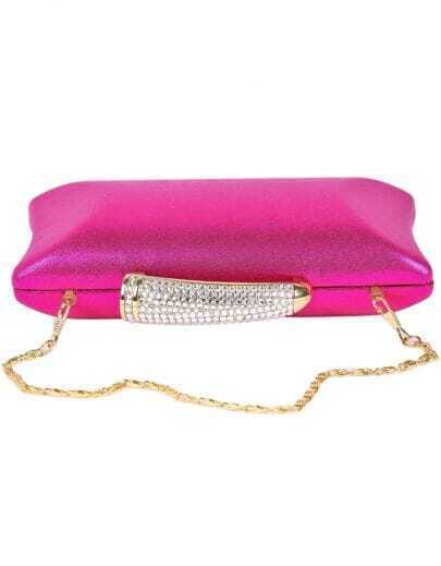 Red Diamond Chain Clutch Bag