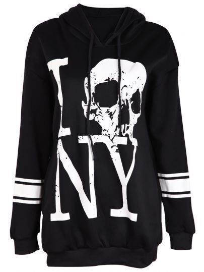 Black Hooded Long Sleeve Skull Letters Print Sweatshirt