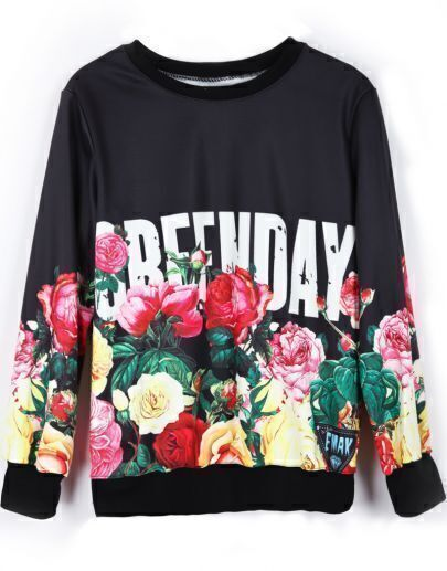 Black Long Sleeve Floral GREENDAY Print Sweatshirt