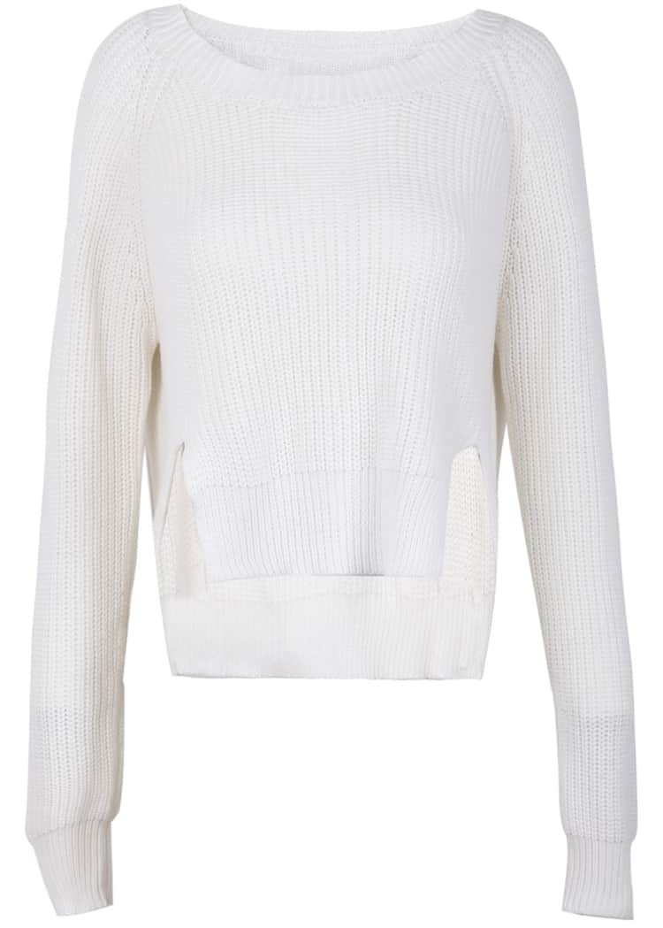 White Long Sleeve Split Knit Crop Sweater -SheIn(Sheinside)