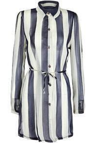 Blue Apricot Vertical Stripe Lapel Long Blouse