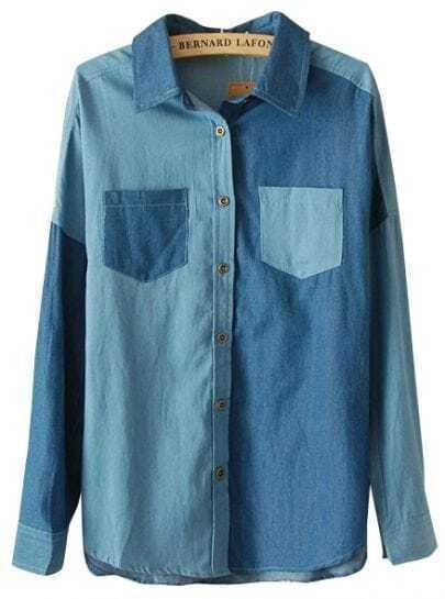 Dark Blue Long Sleeve Contrast Panel Denim Blouse