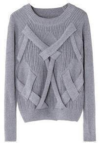 Grey Raglan Sleeve Cross Bandage Vertical Stripe Knitting Sweater