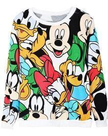 White Long Sleeve Cartoon Mickey Print Sweatshirt