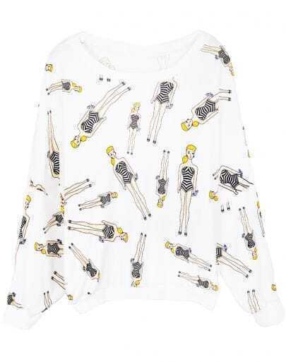 White Batwing Long Sleeve Beauty Print Sweatshirt