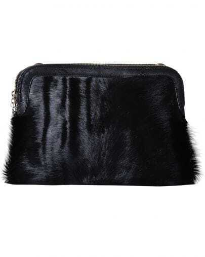 Black Fur Double Layer Leather Bag
