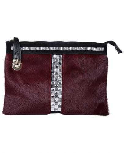 Wine Red Fur Double Layer Rhinestone Leather Bag
