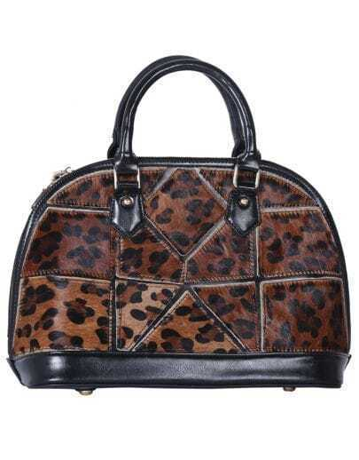 Leopard Geo Pattern Leather Tote Bag