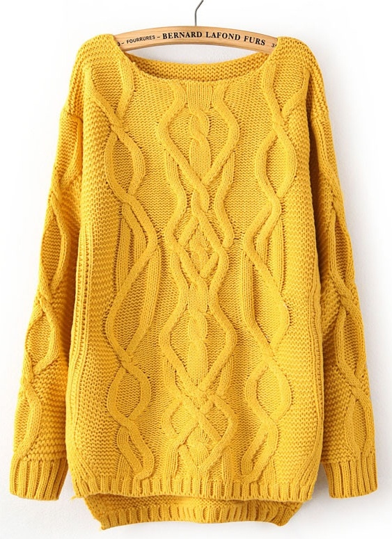 Yellow Long Sleeve Cable Knit Pullover Sweater -SheIn(Sheinside)
