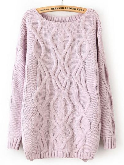 Light Purple Long Sleeve Cable Knit Pullover Sweater