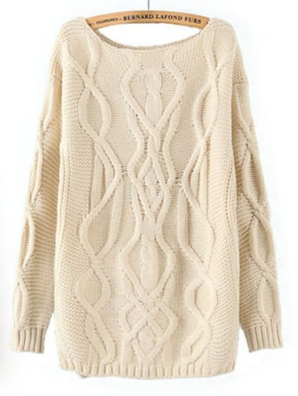 Beige Long Sleeve Cable Knit Pullover Sweater -SheIn(Sheinside)