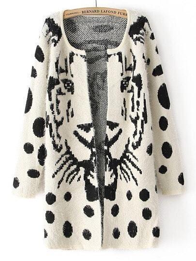 White Long Sleeve Tiger Print Polka Dot Cardigan