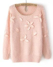 Pink Long Sleeve Applique Contrast Gold Trims Sweater