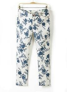 White Blue Slim Porcelain Pattern Pant