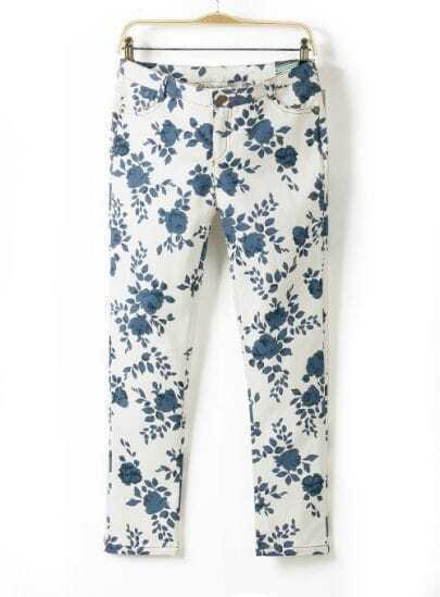 White Blue Slim Porcelain Pattern Pant
