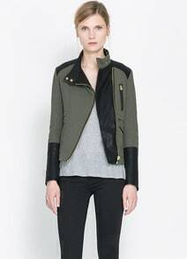 Army Green Contrast PU Leather Zipper Jacket