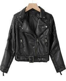 Black Double Zipper Long Sleeve Belt PU Biker Jacket