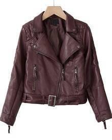 Wine Red Double Zipper Long Sleeve Belt PU Biker Jacket
