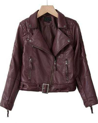 Wine Red Double Zipper Long Sleeve Belt PU Biker Jacket