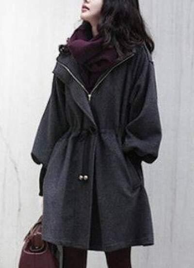 Grey Trumpet Sleeve Drawstring Waist Hooded Woolen Coat