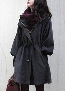 Grey Trumpet Sleeve Drawstring Waist Hooded Woolen Coat
