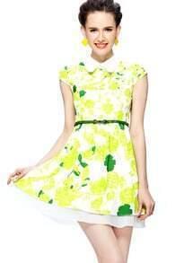 Green Cap Sleeve Metal Tip Collar Print Belt Short Dress