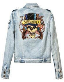 Blue Long Sleeve Bead Skull Print Denim Crop Jacket
