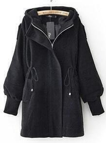 Black Trumpet Sleeve Drawstring Waist Hooded Woolen Coat