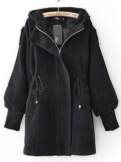 Black Trumpet Sleeve Drawstring Waist Hooded Woolen Coat
