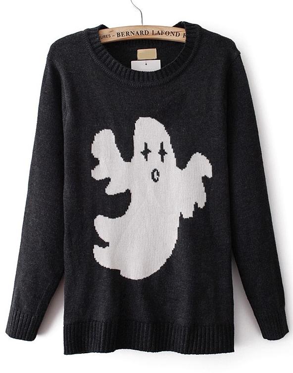 Black Long Sleeve Ghost Pattern Knit Sweater -SheIn(Sheinside)