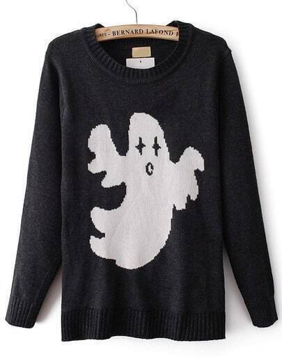 Black Long Sleeve Ghost Pattern Knit Sweater