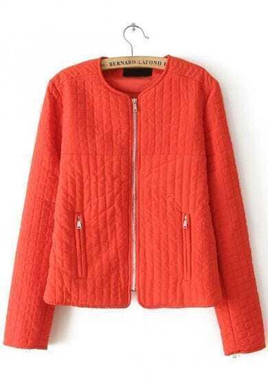 Orange Long Sleeve Plaid Pattern Jacket