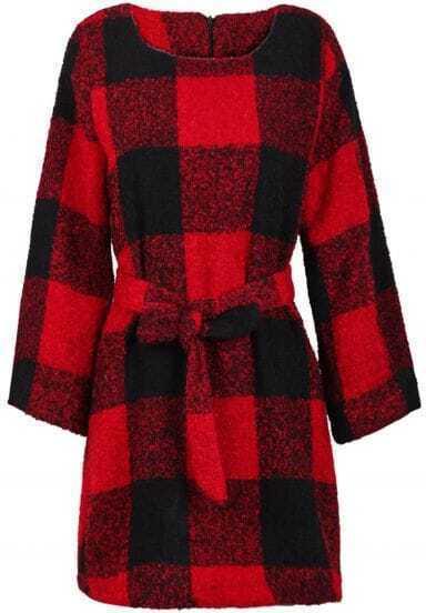 Red Black Plaid Long Sleeve Belt Coat