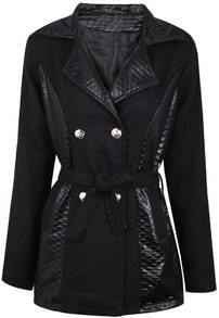 Black Contrast Leather Lapel Belt Coat