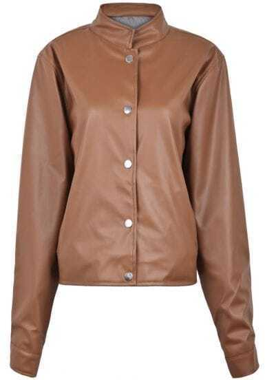 Brown Stand Collar Long Sleeve PU Crop Jacket