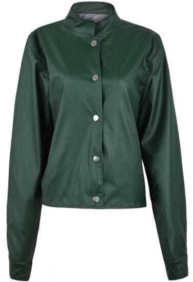 Green Stand Collar Long Sleeve PU Crop Jacket