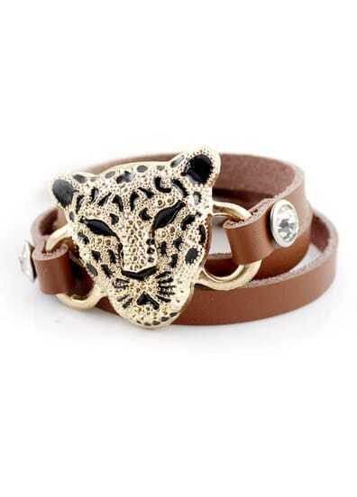 Gold Leopard Khaki Multilayer Leatb