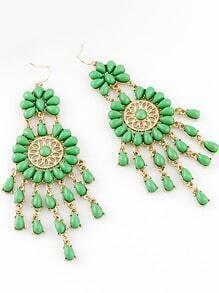 Green Drop Gemstone Tassel Dangle Earrings