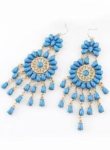 Blue Drop Gemstone Tassel Dangle Earrings