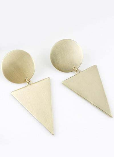 Gold Round Triangle Earrings