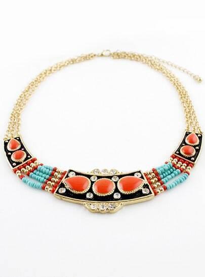 Orange Gemstone Bead Multilayer Chain Necklace