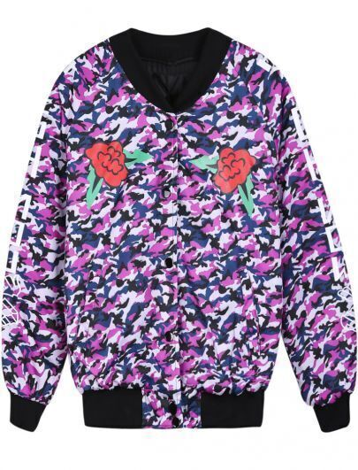 Purple Camouflage Long Sleeve Skull Print Jacket