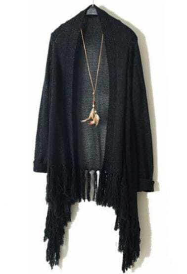 Black Long Sleeve Metallic Yoke Tassel Cardigan