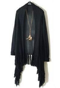 Black Long Sleeve Metallic Yoke Tassel Cardigan