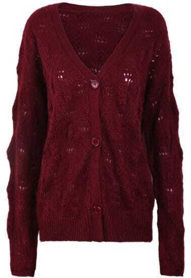 Wine Red V Neck Long Sleeve Hollow Cardigan