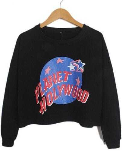 Black Long Sleeve Letters Earth Stars Print Sweatshirt