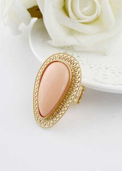 Pink Gemstone Gold Drop Ring