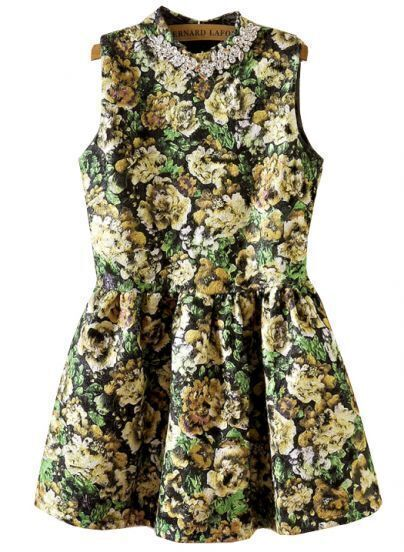 Green Sleeveless Rhinestone Floral Flare Dress
